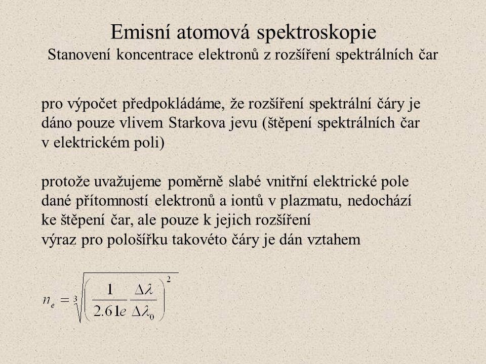 Emisní atomová spektroskopie Stanovení koncentrace elektronů z rozšíření spektrálních čar