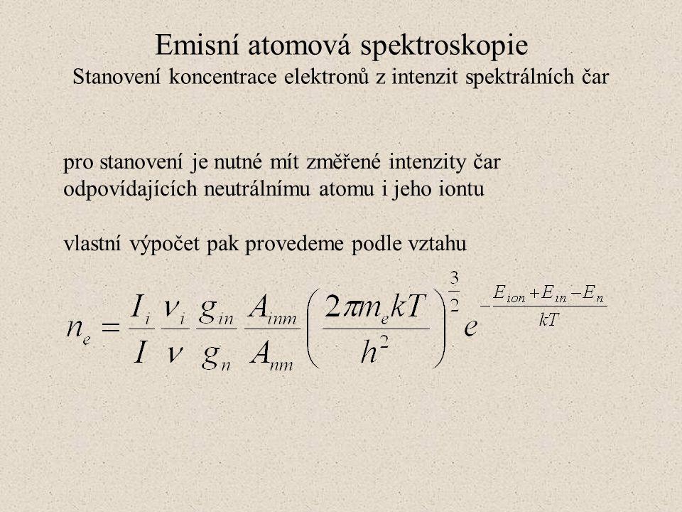 Emisní atomová spektroskopie Stanovení koncentrace elektronů z intenzit spektrálních čar