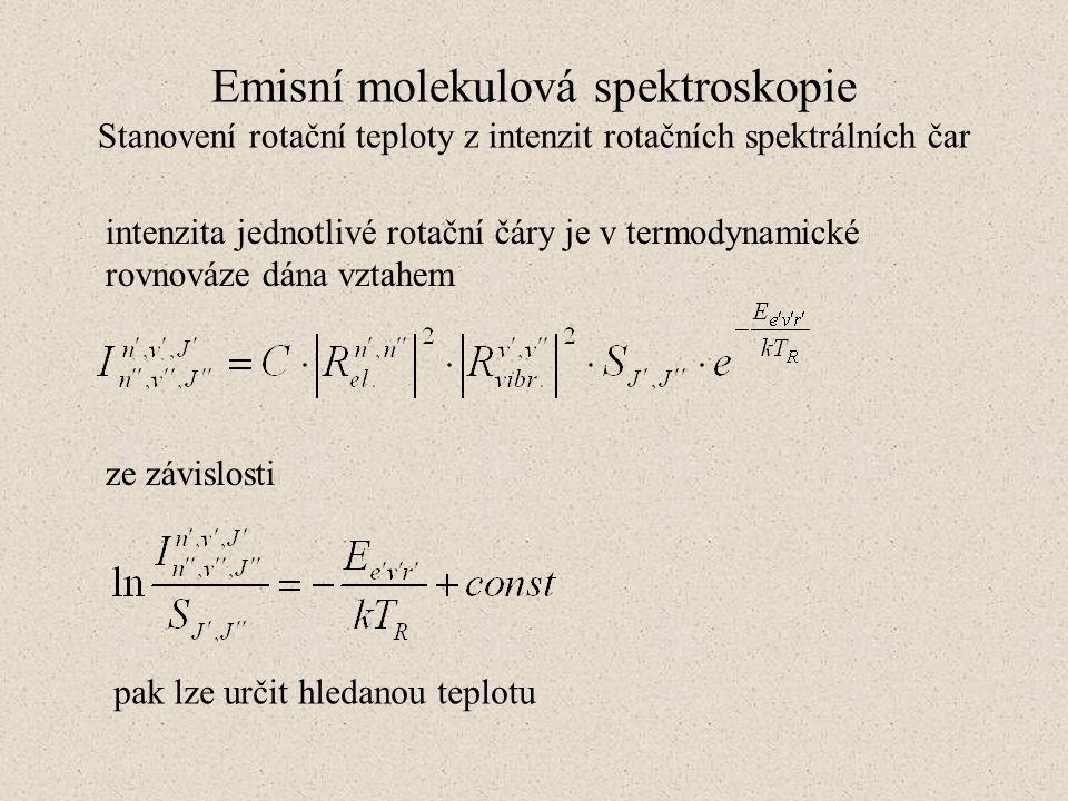 Emisní molekulová spektroskopie Stanovení rotační teploty z intenzit rotačních spektrálních čar