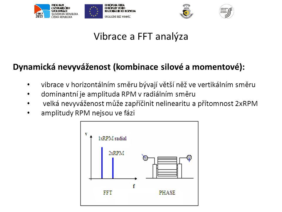 Vibrace a FFT analýza Dynamická nevyváženost (kombinace silové a momentové): vibrace v horizontálním směru bývají větší něž ve vertikálním směru.