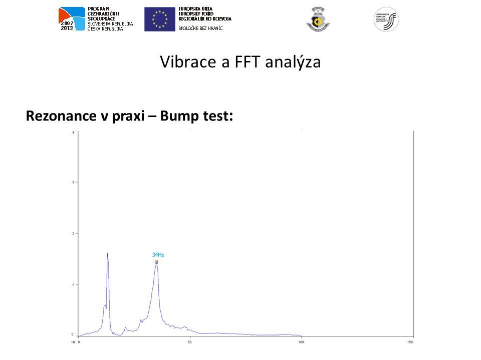 Vibrace a FFT analýza Rezonance v praxi – Bump test: