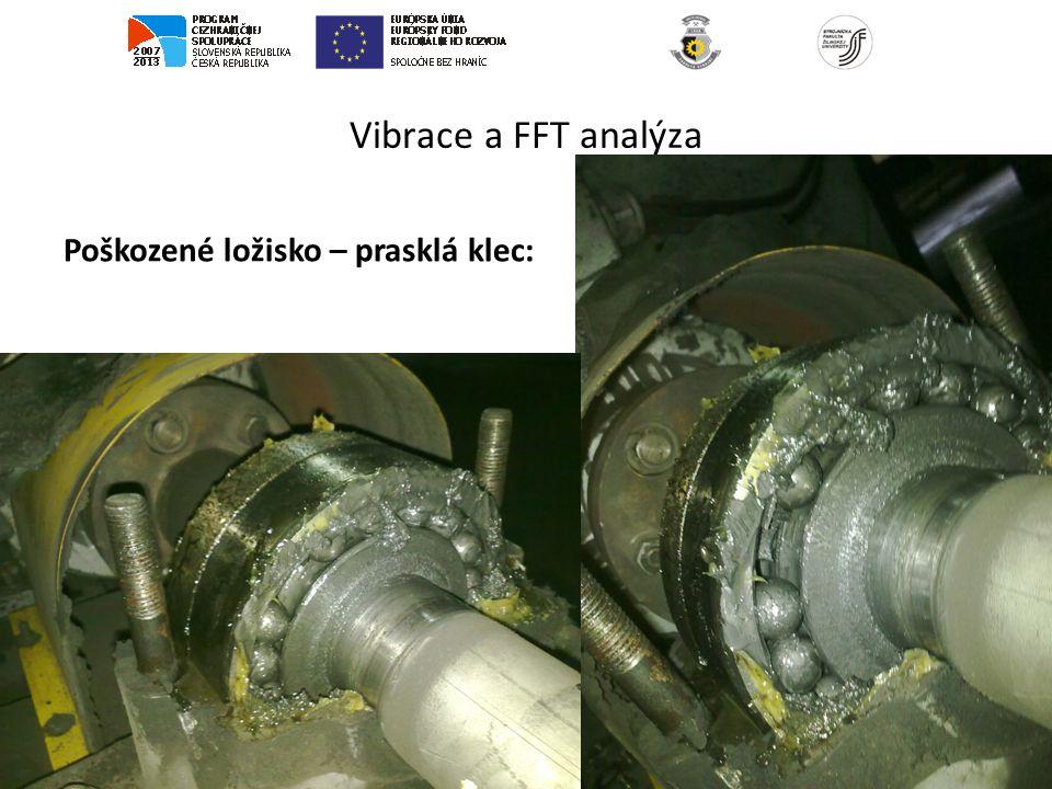 Vibrace a FFT analýza Poškozené ložisko – prasklá klec: