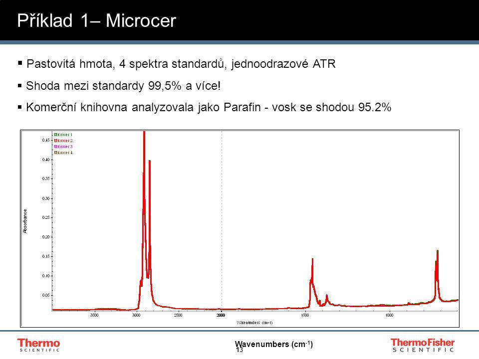 Příklad 1– Microcer Pastovitá hmota, 4 spektra standardů, jednoodrazové ATR. Shoda mezi standardy 99,5% a více!