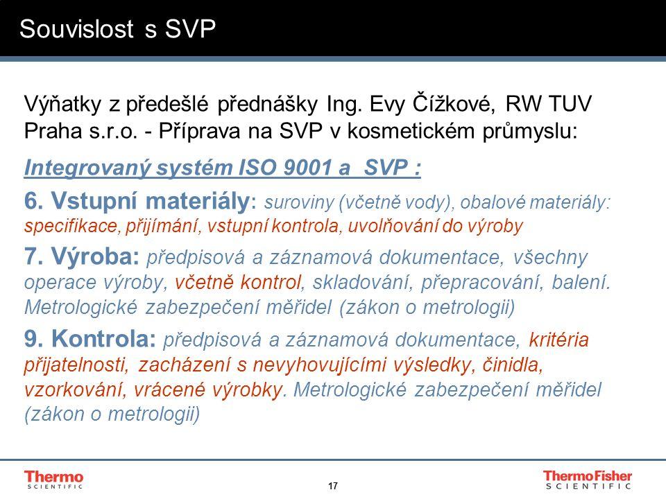 Souvislost s SVP Výňatky z předešlé přednášky Ing. Evy Čížkové, RW TUV Praha s.r.o. - Příprava na SVP v kosmetickém průmyslu: