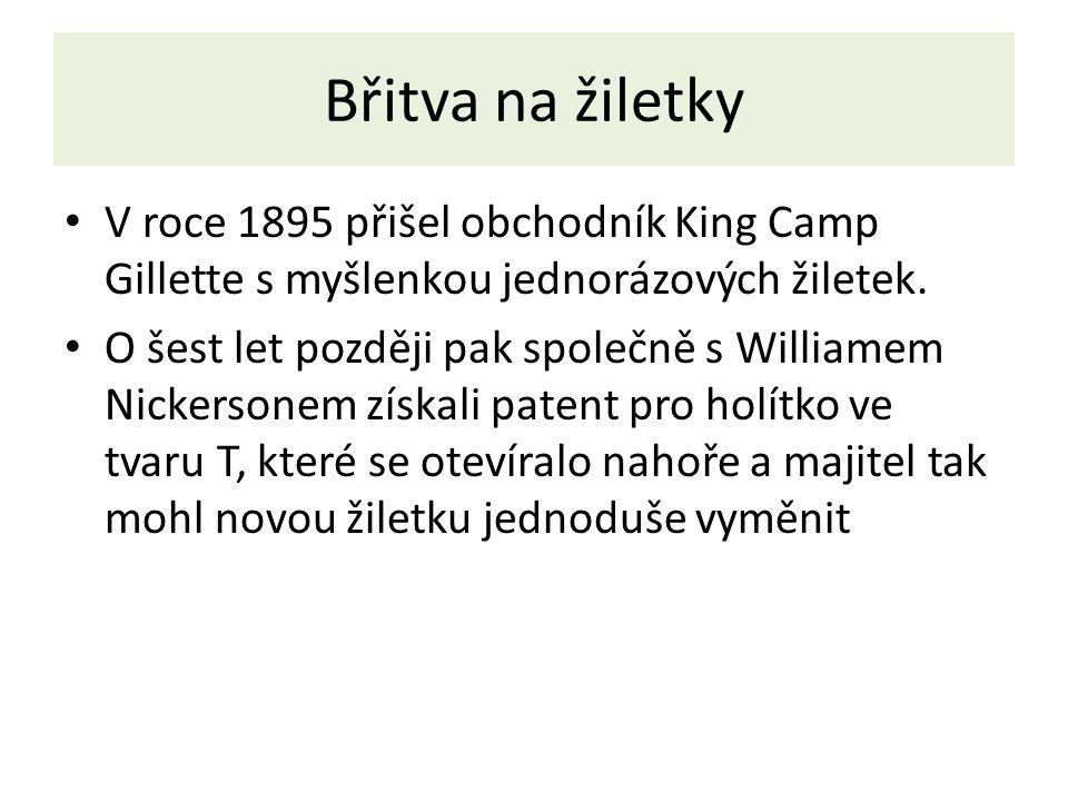 Břitva na žiletky V roce 1895 přišel obchodník King Camp Gillette s myšlenkou jednorázových žiletek.