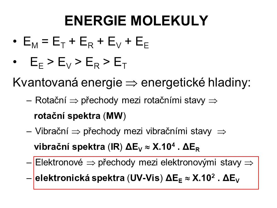 ENERGIE MOLEKULY EM = ET + ER + EV + EE EE > EV > ER > ET