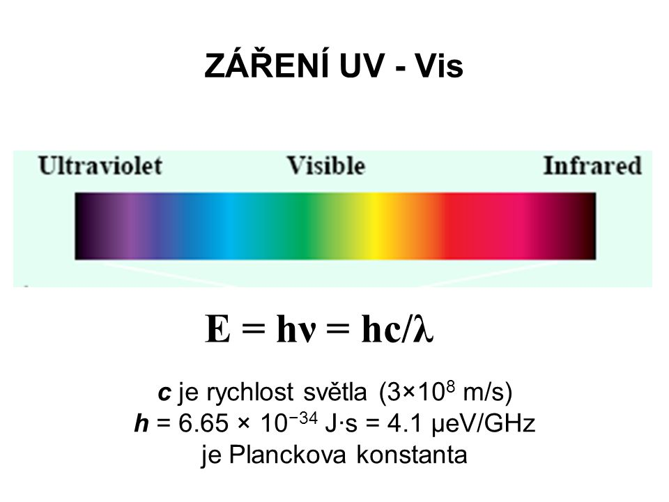 E = hν = hc/λ ZÁŘENÍ UV - Vis c je rychlost světla (3×108 m/s)
