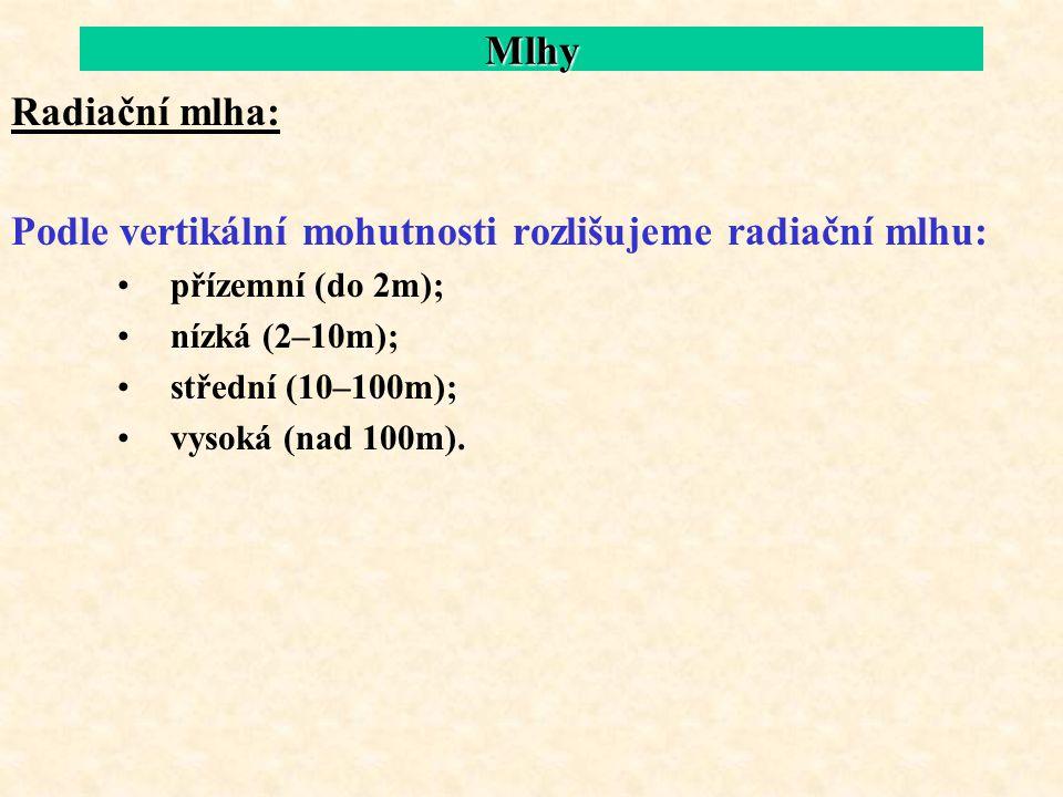 Podle vertikální mohutnosti rozlišujeme radiační mlhu: