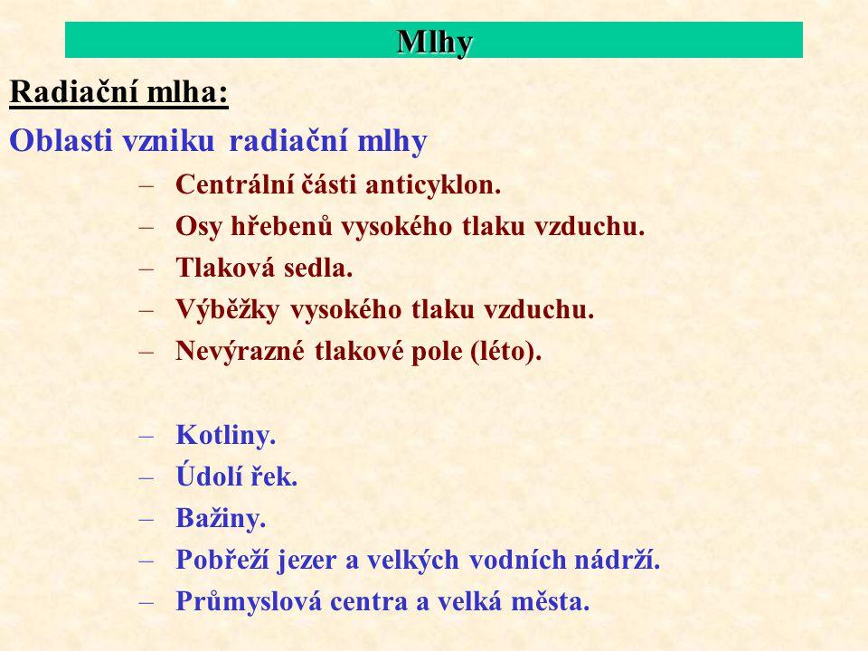 Oblasti vzniku radiační mlhy