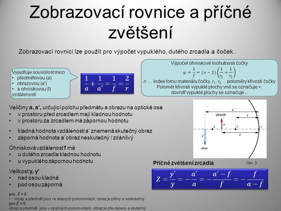 Zobrazovací rovnice a příčné zvětšení