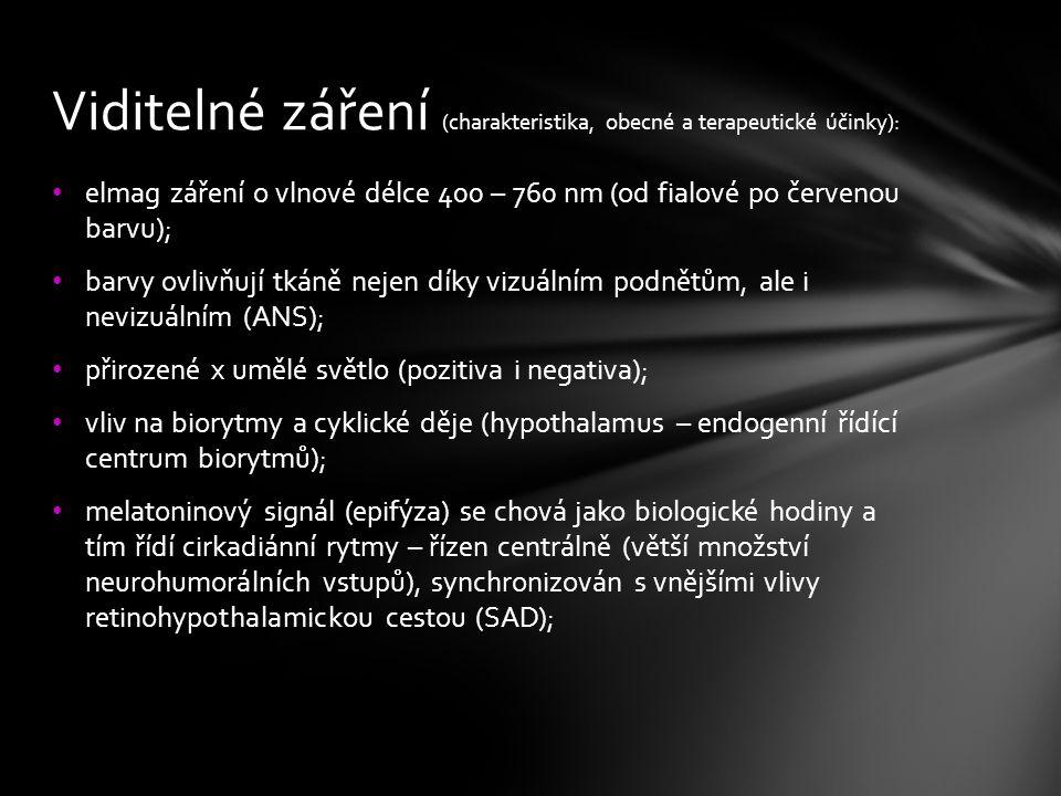Viditelné záření (charakteristika, obecné a terapeutické účinky):