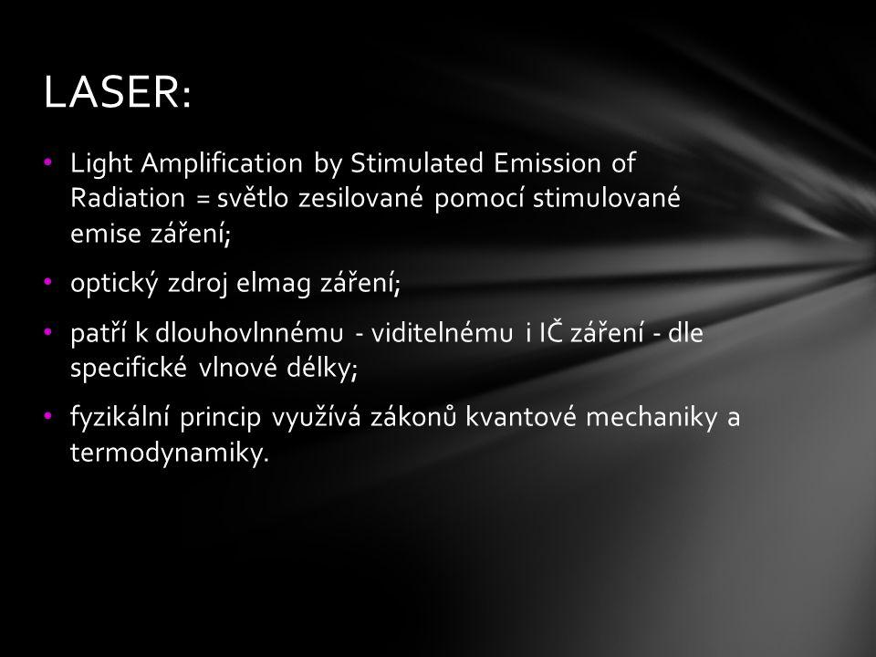 LASER: Light Amplification by Stimulated Emission of Radiation = světlo zesilované pomocí stimulované emise záření;