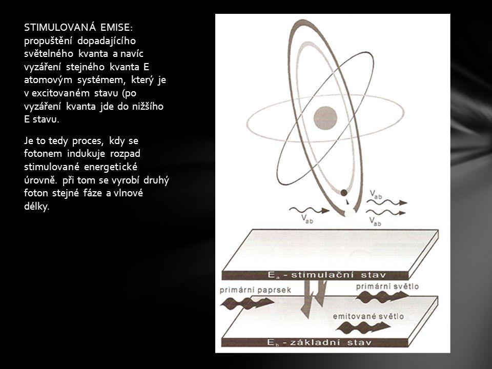 STIMULOVANÁ EMISE: propuštění dopadajícího světelného kvanta a navíc vyzáření stejného kvanta E atomovým systémem, který je v excitovaném stavu (po vyzáření kvanta jde do nižšího E stavu.