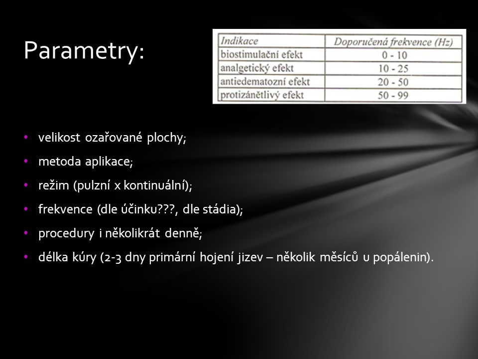 Parametry: velikost ozařované plochy; metoda aplikace;