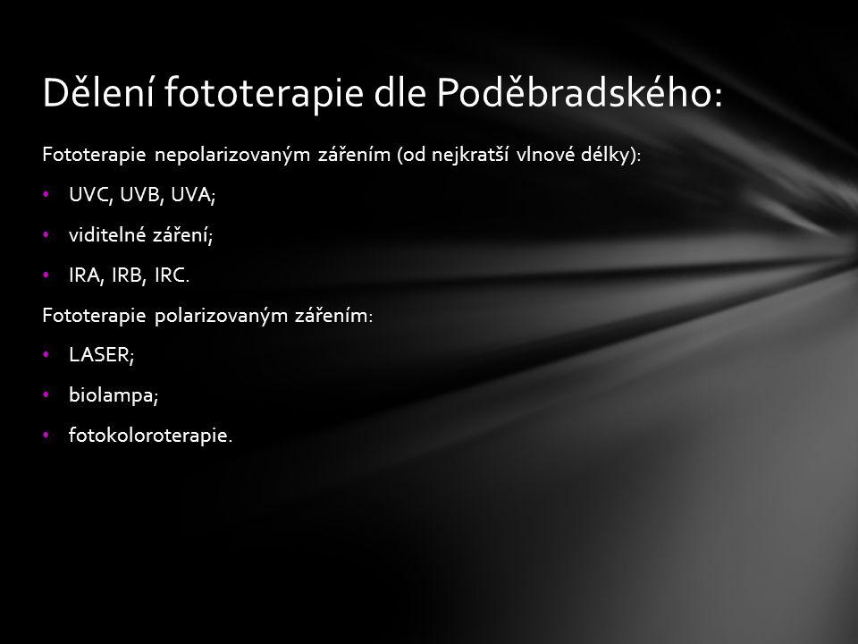 Dělení fototerapie dle Poděbradského: