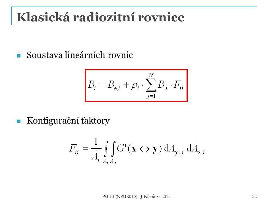 Klasická radiozitní rovnice