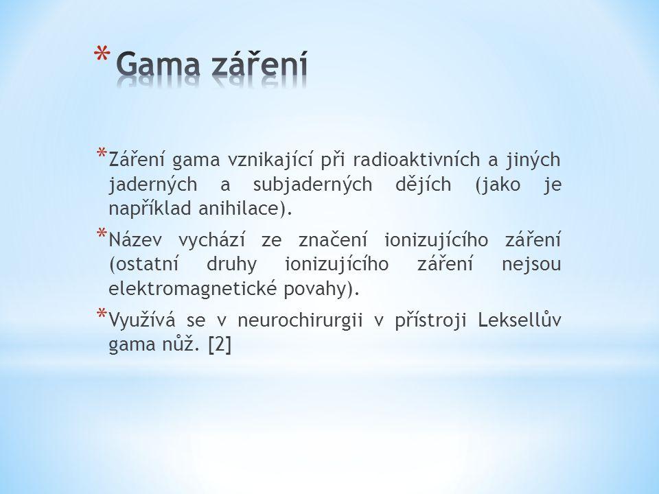 Gama záření Záření gama vznikající při radioaktivních a jiných jaderných a subjaderných dějích (jako je například anihilace).