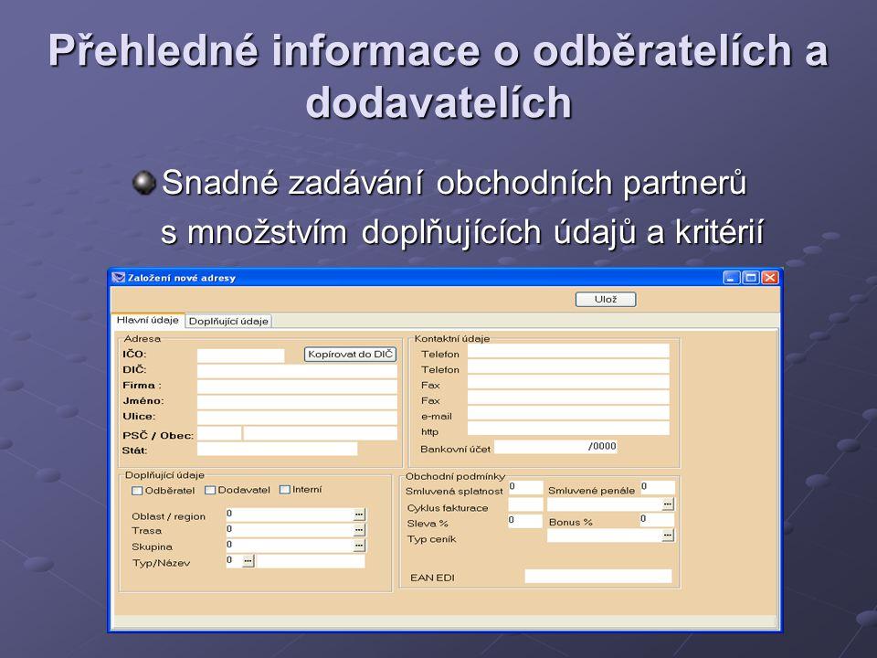 Přehledné informace o odběratelích a dodavatelích