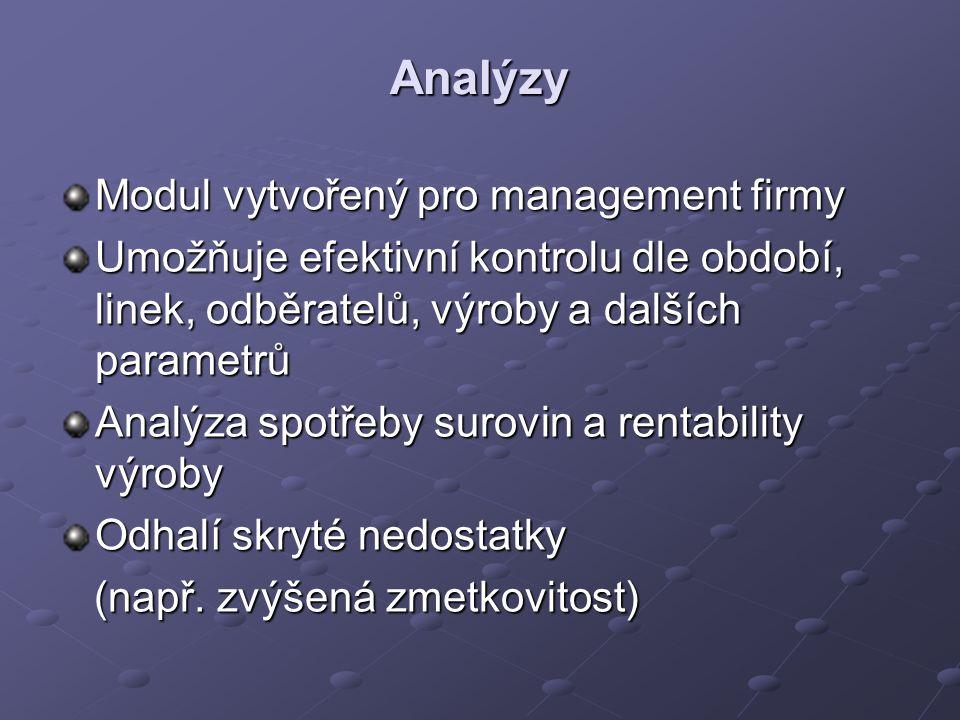 Analýzy Modul vytvořený pro management firmy