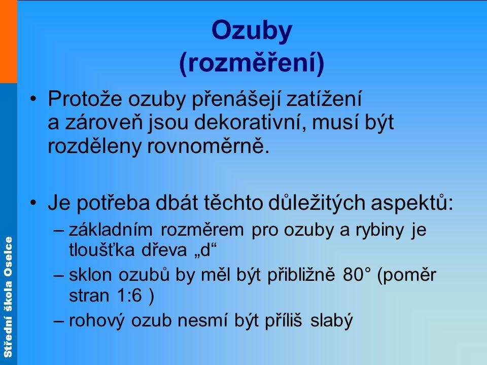 Ozuby (rozměření) Protože ozuby přenášejí zatížení a zároveň jsou dekorativní, musí být rozděleny rovnoměrně.