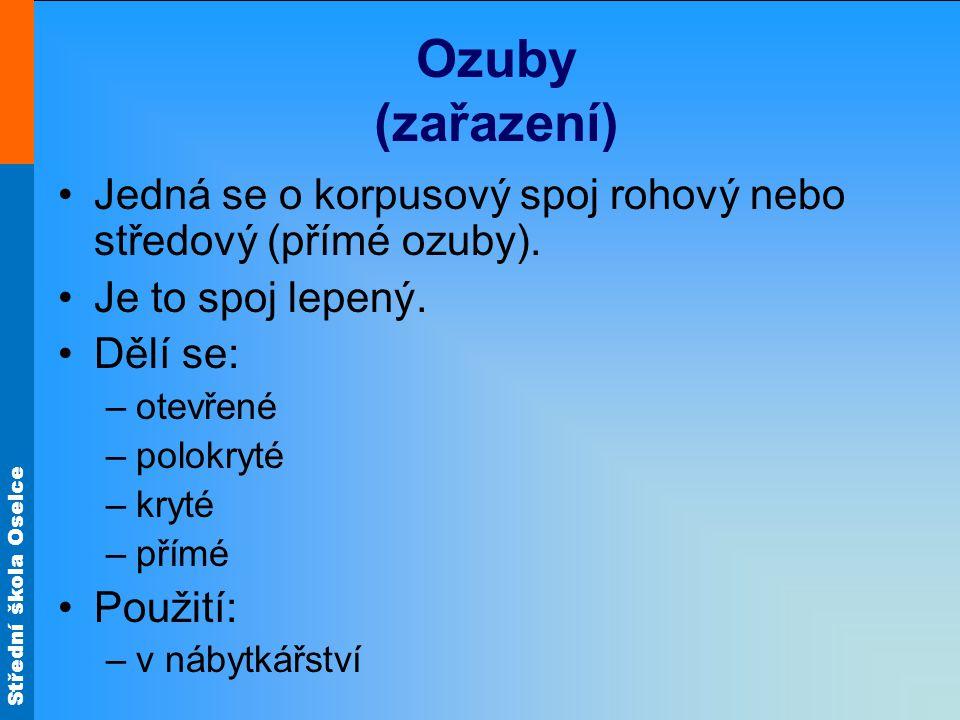 Ozuby (zařazení) Jedná se o korpusový spoj rohový nebo středový (přímé ozuby). Je to spoj lepený. Dělí se: