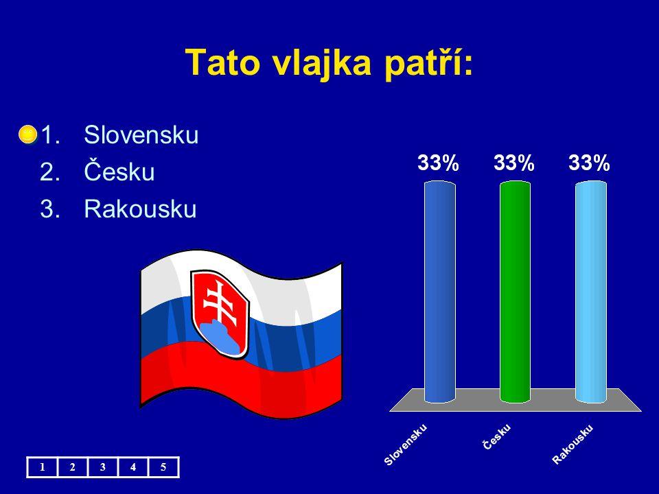 Tato vlajka patří: Slovensku Česku Rakousku 1 2 3 4 5