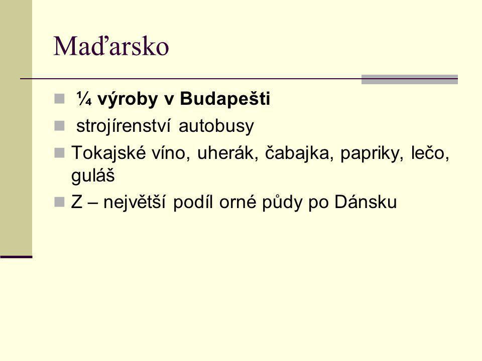 Maďarsko ¼ výroby v Budapešti strojírenství autobusy