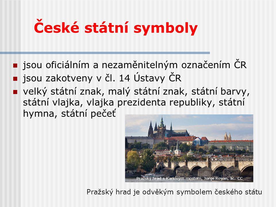České státní symboly jsou oficiálním a nezaměnitelným označením ČR