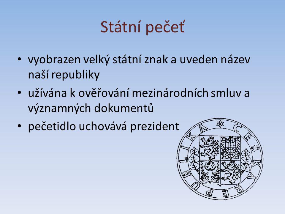 Státní pečeť vyobrazen velký státní znak a uveden název naší republiky