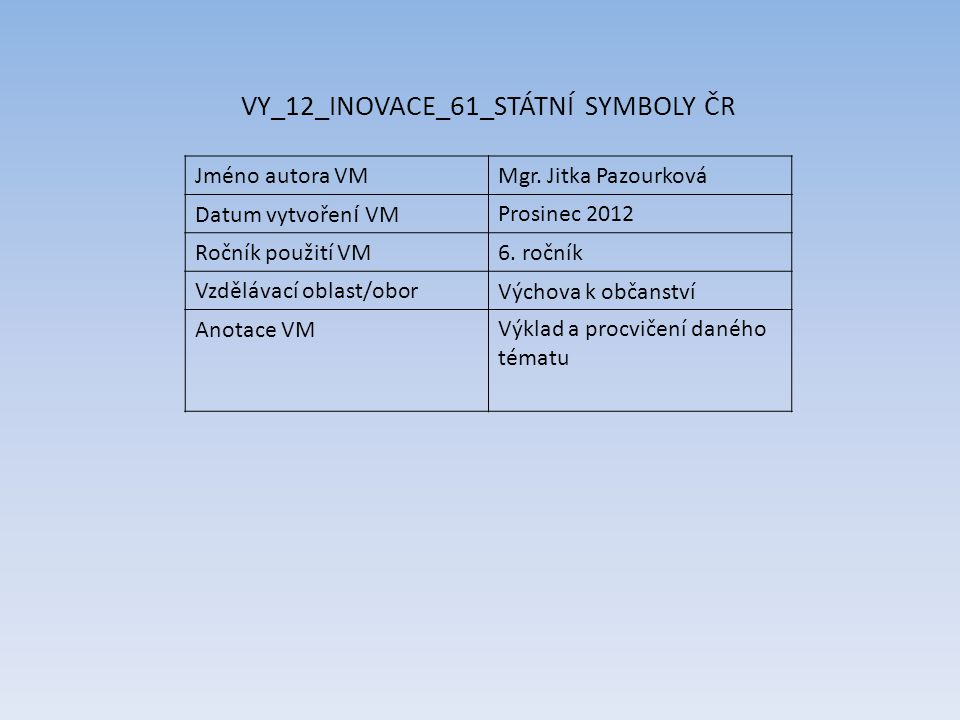 VY_12_INOVACE_61_STÁTNÍ SYMBOLY ČR