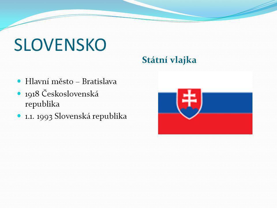 SLOVENSKO Státní vlajka Hlavní město – Bratislava