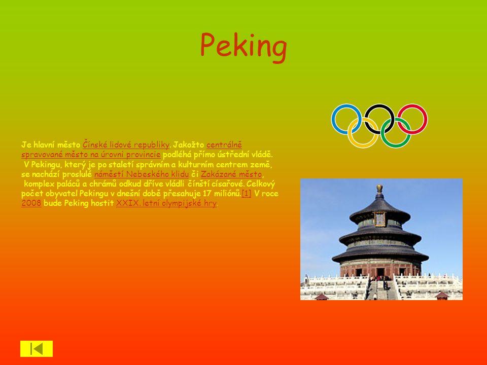 Peking Je hlavní město Čínské lidové republiky. Jakožto centrálně spravované město na úrovni provincie podléhá přímo ústřední vládě.