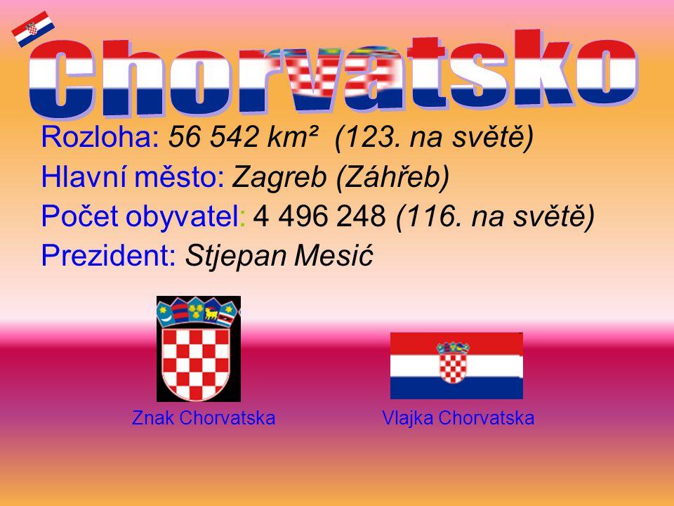 Chorvatsko Rozloha: 56 542 km² (123. na světě)