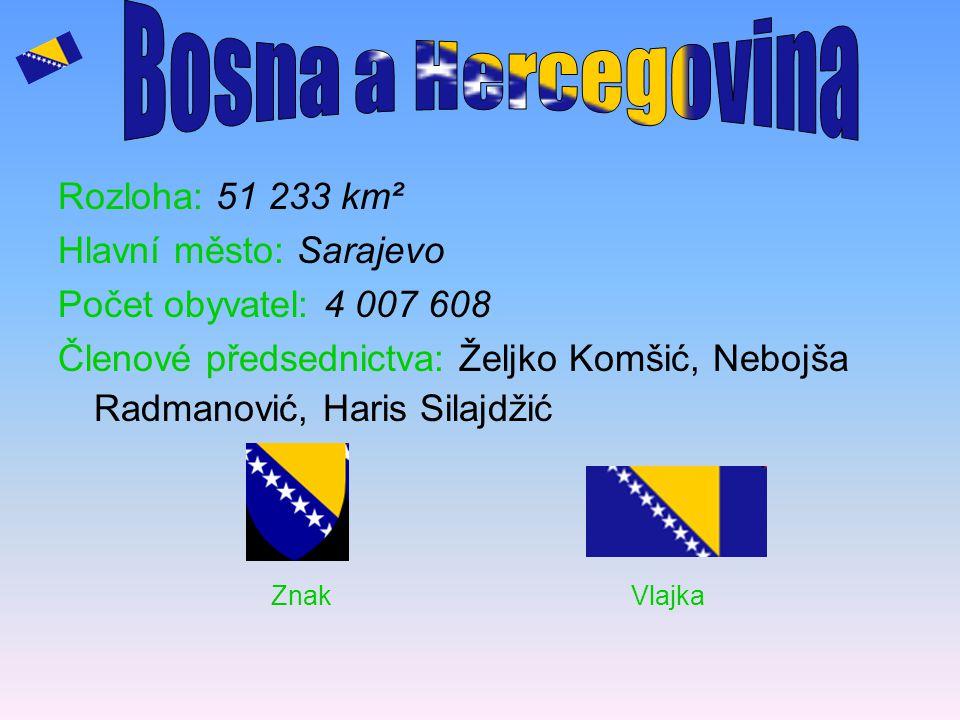 Bosna a Hercegovina Znak Vlajka Rozloha: 51 233 km²
