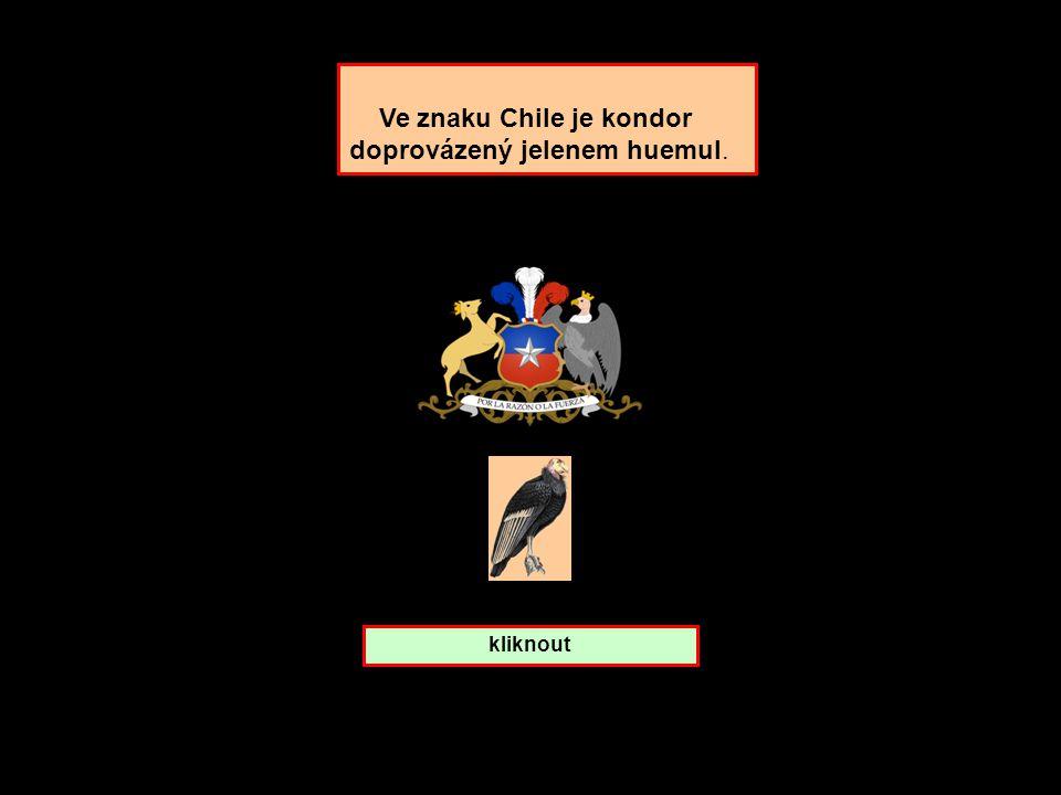 Ve znaku Chile je kondor doprovázený jelenem huemul.