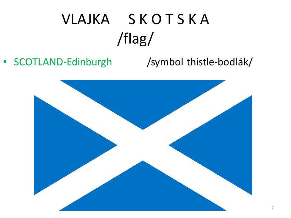 VLAJKA S K O T S K A /flag/ SCOTLAND-Edinburgh /symbol thistle-bodlák/