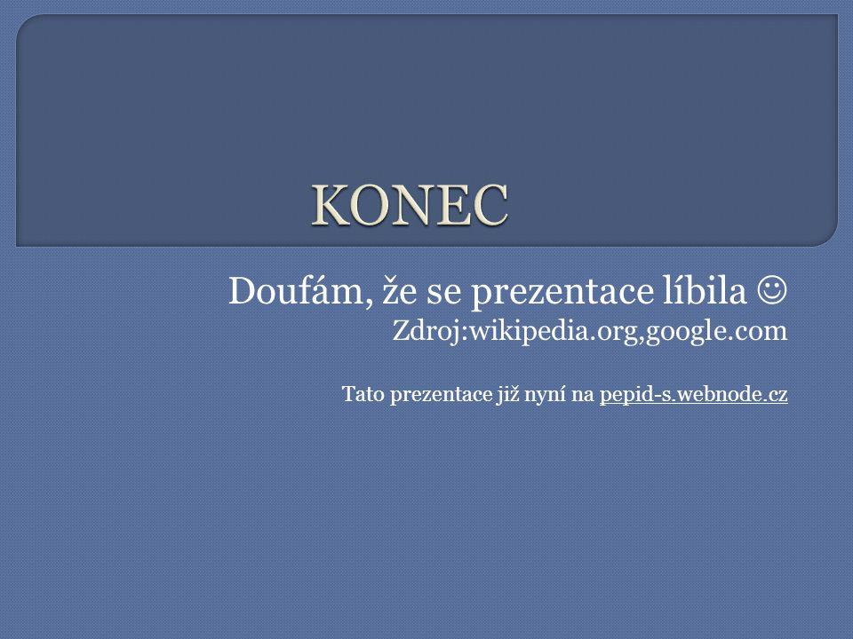 KONEC Doufám, že se prezentace líbila  Zdroj:wikipedia.org,google.com