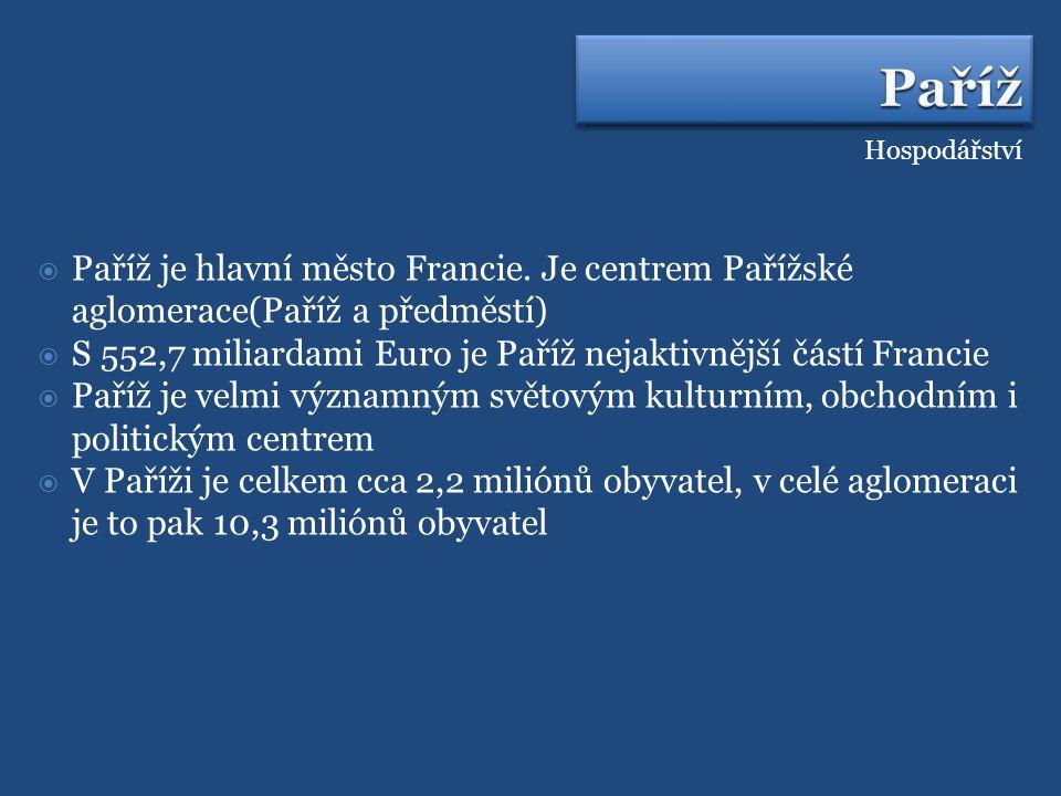 Paříž Hospodářství. Paříž je hlavní město Francie. Je centrem Pařížské aglomerace(Paříž a předměstí)
