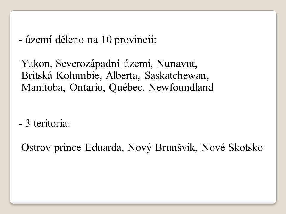 území děleno na 10 provincií: