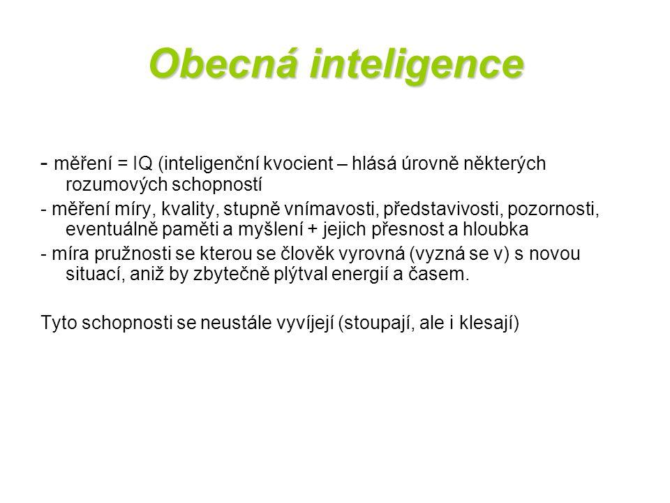 Obecná inteligence - měření = IQ (inteligenční kvocient – hlásá úrovně některých rozumových schopností.