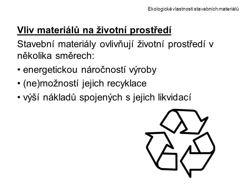 Ekologické vlastnosti stavebních materiálů