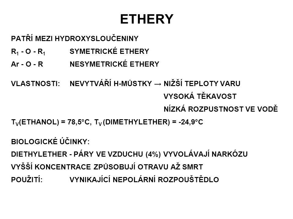 ETHERY PATŘÍ MEZI HYDROXYSLOUČENINY R1 - O - R1 SYMETRICKÉ ETHERY