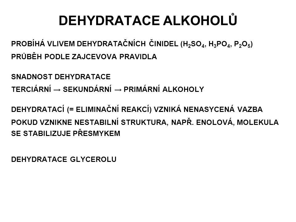 DEHYDRATACE ALKOHOLŮ PROBÍHÁ VLIVEM DEHYDRATAČNÍCH ČINIDEL (H2SO4, H3PO4, P2O5) PRŮBĚH PODLE ZAJCEVOVA PRAVIDLA.