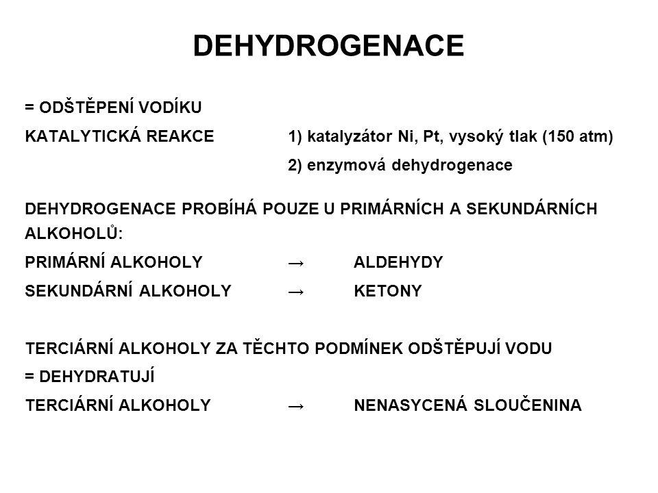 DEHYDROGENACE = ODŠTĚPENÍ VODÍKU