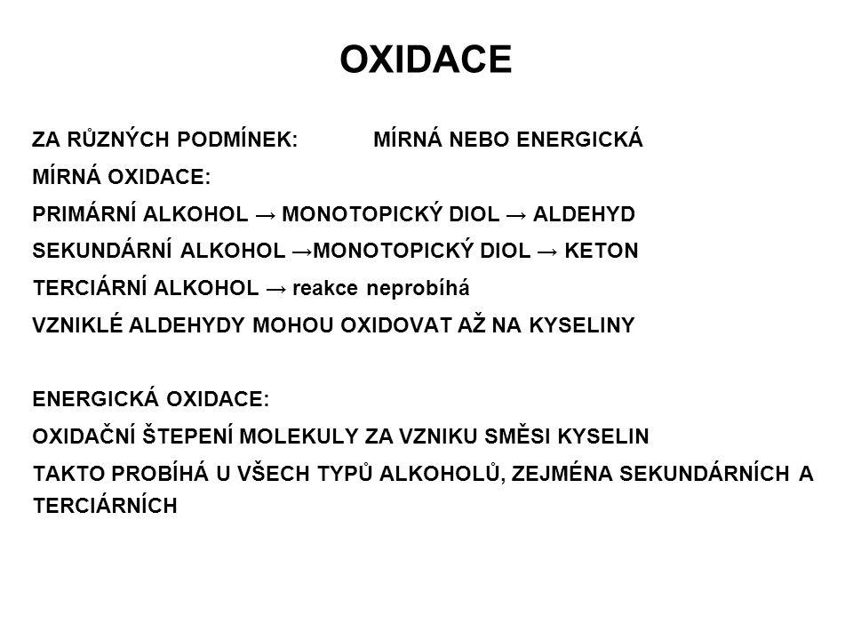 OXIDACE ZA RŮZNÝCH PODMÍNEK: MÍRNÁ NEBO ENERGICKÁ MÍRNÁ OXIDACE: