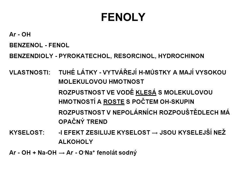 FENOLY Ar - OH BENZENOL - FENOL