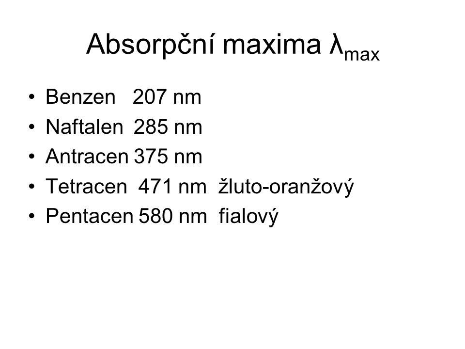 Absorpční maxima λmax Benzen 207 nm Naftalen 285 nm Antracen 375 nm