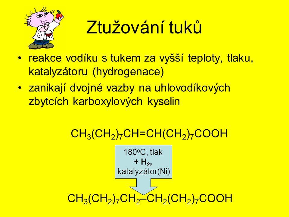 Ztužování tuků reakce vodíku s tukem za vyšší teploty, tlaku, katalyzátoru (hydrogenace)