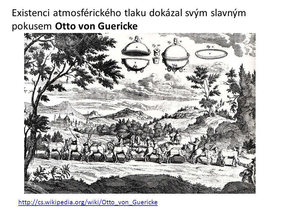 Existenci atmosférického tlaku dokázal svým slavným pokusem Otto von Guericke