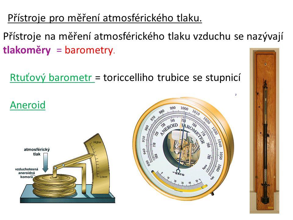Přístroje pro měření atmosférického tlaku.